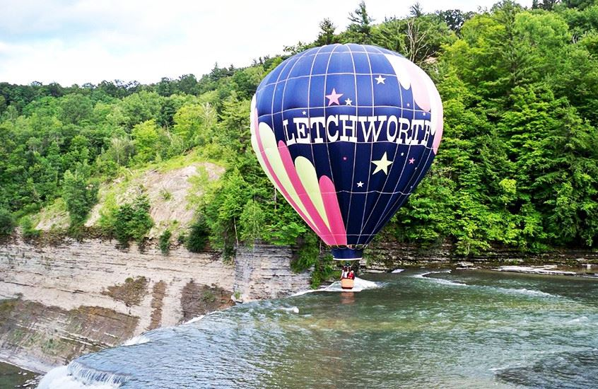 Hot Air balloon over river